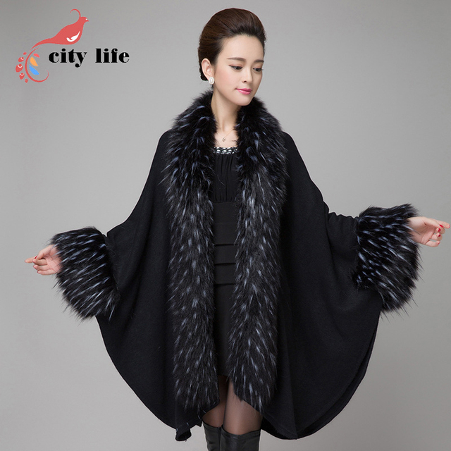 noir cape manteau femmes manteau cape en fausse fourrure de vison grand poncho 2017 nouveau col. Black Bedroom Furniture Sets. Home Design Ideas