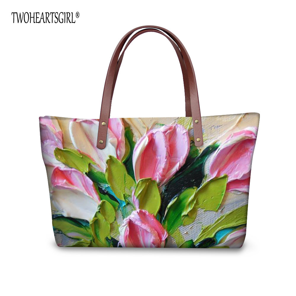 TWOHEARTSGIRL Floral Print Women Handbag Casual Ladies Top Handle Shoulder Travel Bags Neoprene Female Tote Shopping Bag