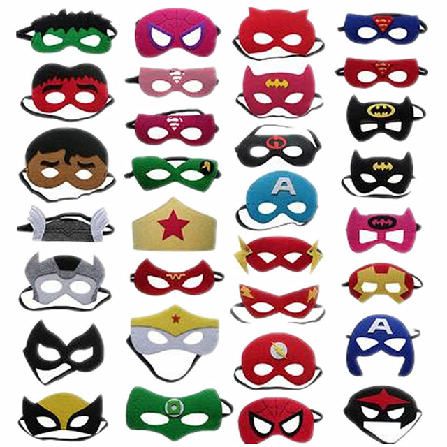30 Colors Kids Super Hero Cosplay Mask Kids Birthday Party Anime and Movie Cosplay Blinds Halloween Show Dress Up Costume Mask