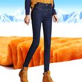 Inverno calças de Brim Quentes Para Mulheres Engrossar Calças Femininas Esticar Calças Jeans Reta de Moda de Cintura Alta Calça Jeans Femme S-4XL