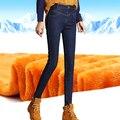 Winter Warm Jeans For Women Thicken Pants Female Stretch Straight Fashion High Waist Jeans Femme Denim Pants S-4XL
