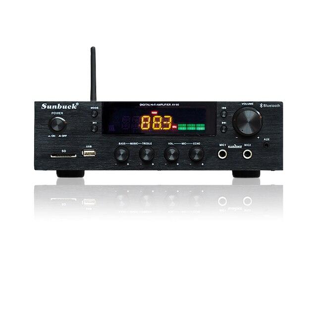 SUNBUCK 150W + 150W HiFi bezprzewodowy Bluetooth cyfrowy wzmacniacz stereo Karaoke kina domowego wzmacniacz audio obsługuje usb/SD Card