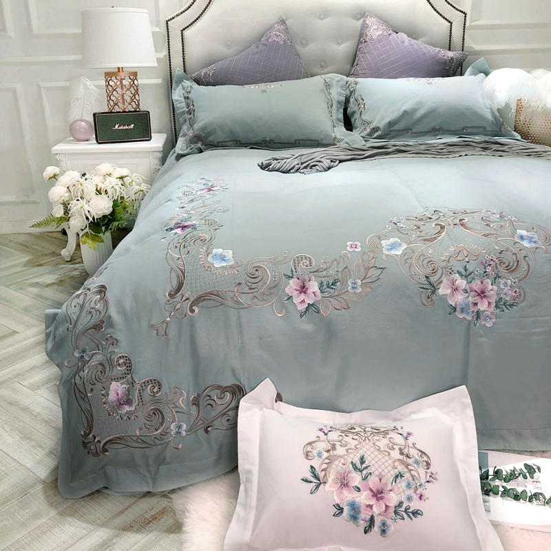 600TC Cotton Embroidery Queen King Bedding set Luxury Bed set Duvet cover Bedlinens Bed cover juego