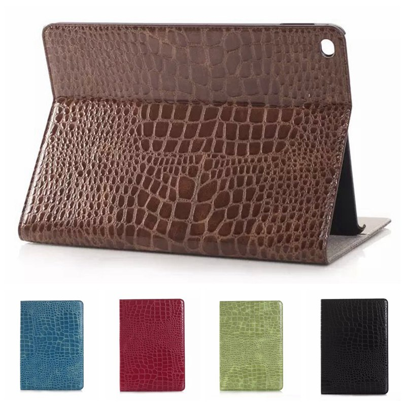 Sparkle Crocodile Leather Tablet Case for Apple IPad Air 2 Luxury Business Flip Stand Cases Coques for IPad 6 with Card Holder