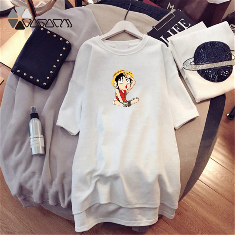 2019 Summer Dresses Women One Piece Cute Luffy Choba Short Sleeve Dress Casual Loose Mini New Vestidos White Dress Plus Size 4XL in Dresses from Women 39 s Clothing