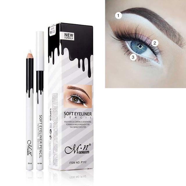 MENOW Brand White Eyeliner Makeup Smooth Easy to Wear Eyes Brightener Eye Liner Pen Waterproof Make Up White Eyes Liner Pencils