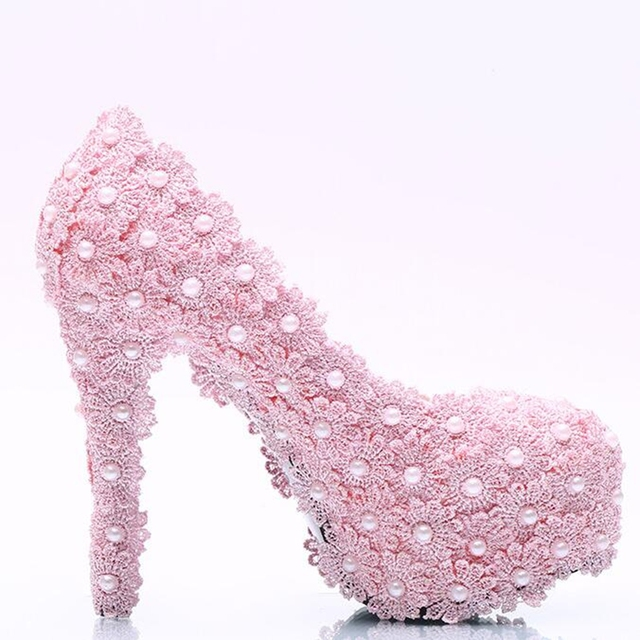 7932d2220f1a 2018 New Fashion Pink Lace Pendant Women Wedding Shoes High Heels Platform  Ladies Party Shoes Pink Flowers Women Dress Shoes
