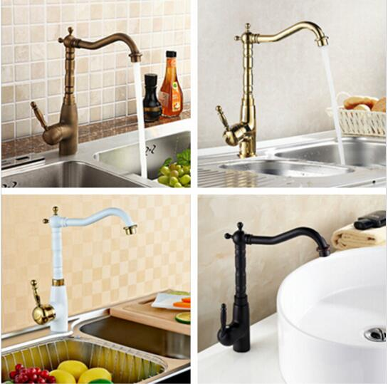 Free Shipping New Four Color Kitchen Sink Basin Faucet Swivel Mixer Tap Solid Brass kitchen faucet
