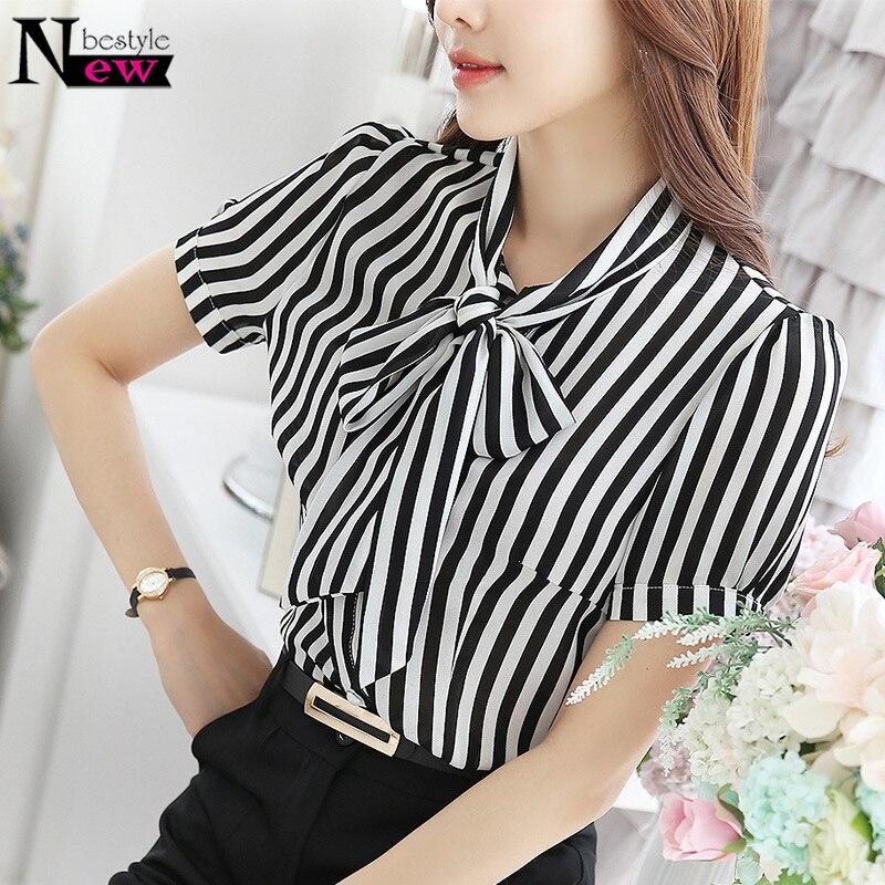 Newbestyle Women Summer Tops Elegant Work Women Blouses Cap Sleeve Black And White Tie Neck Short Sleeve Workwear Striped Blouse