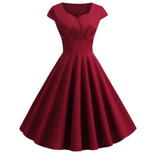 Women Summer Dress 2019 Solid Color Retro Vintage 50s 60s Casual Party Office Robe Rockabilly Dresses Plus Size Vestidos 4