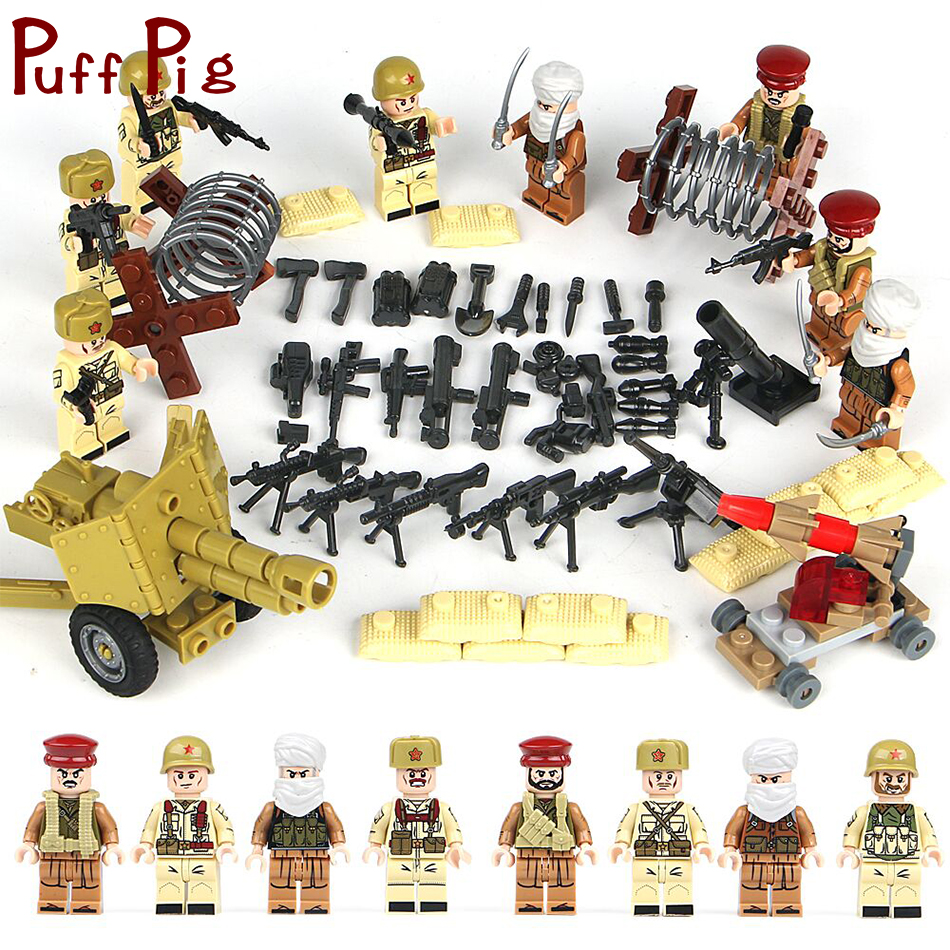 8Pcs/set World War 2 Soviet Soldiers Army Building Blocks Bricks Compatible Legoed Military Russian Figures Weapons Toys For Kid цена