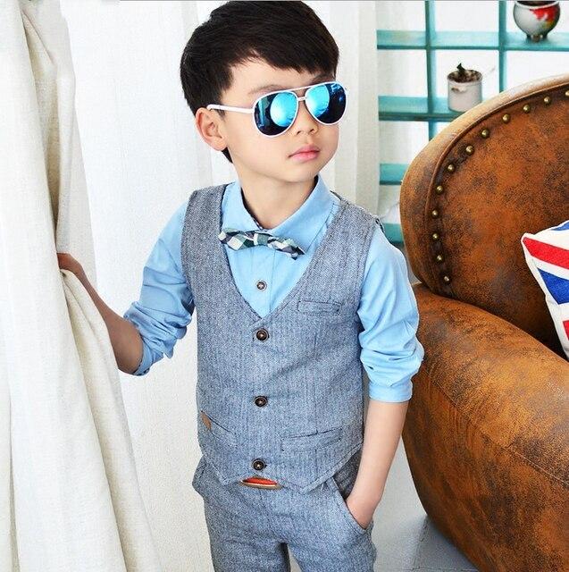 Hot Sale New Children Suit Kids Shirt Vest Formal Weddings Clothes Set Baby Boys Suits Shirt+ Vest+pants 3pcs Suit Outfit
