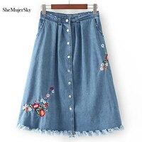 2017 Summer Embroidery Denim Skirts Womens Saia Midi Jeans Skirt For Women Jupe Femme