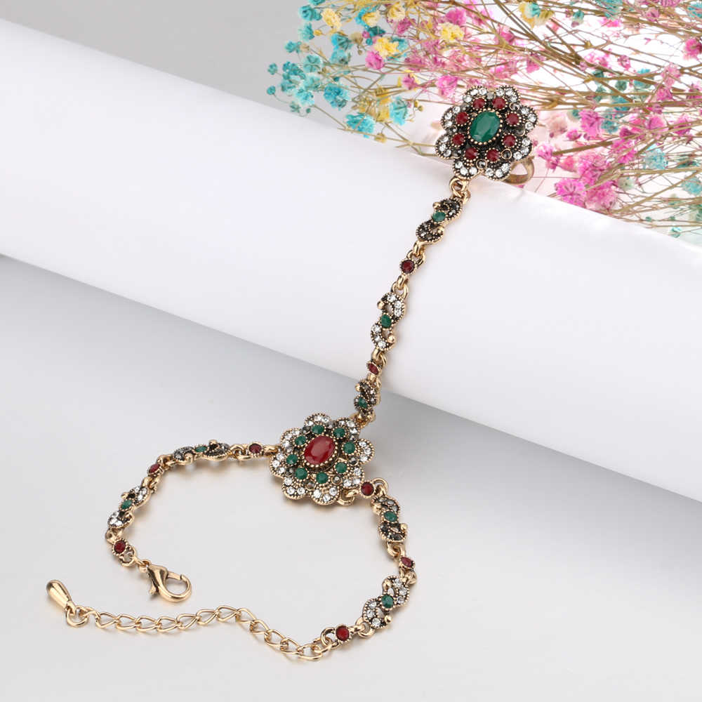 Kinel דובאי תכשיטי סטי צמיד קישור טבעות לנשים עתיק זהב צבע צבעוני שרף קריסטל פרח צמיד פתוחים טבעת