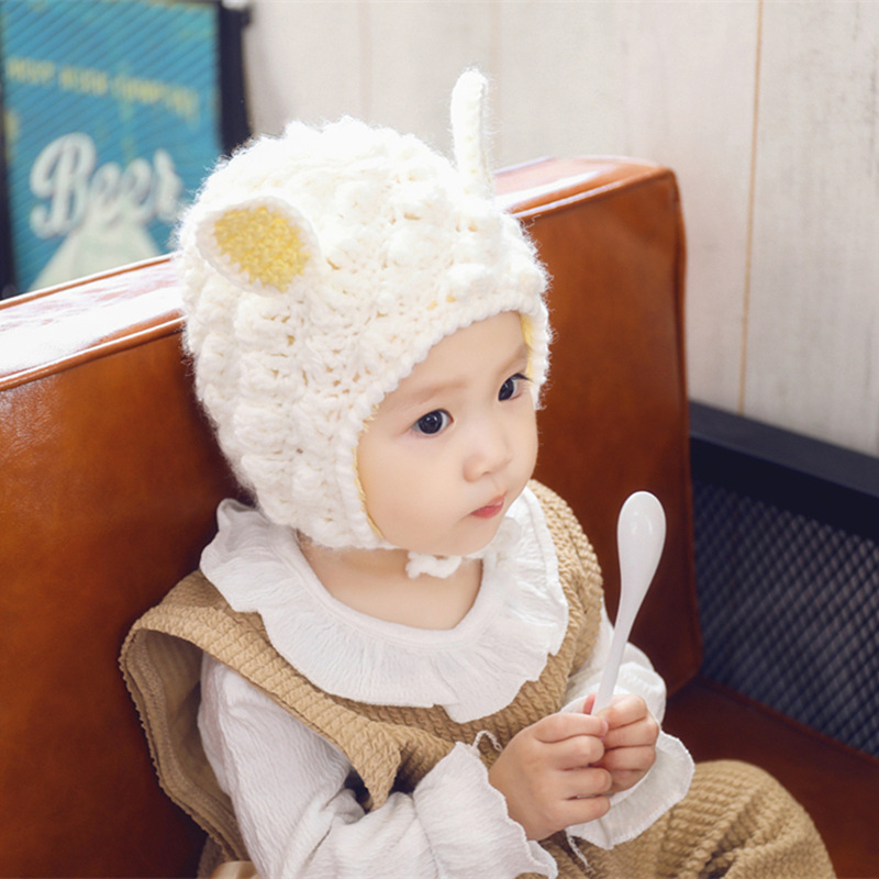 40659117aeb1 High end Handmade Baby Knit Hat Warm Lined Infant Newborn Wool Hat ...