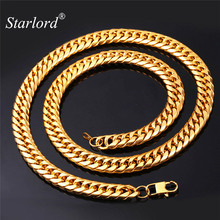 Starlord American Style Hip Hop Cool Men Jewelry 13MM 28'' Gold Color Stainless Steel Long Chunky Kpop Big Chain Necklace GN1150
