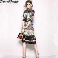 2018 High Quality Luxury Brand Designer Summer Runway Dress Women's Turn Down Collar Half Sleeve Print Casual Party Dress