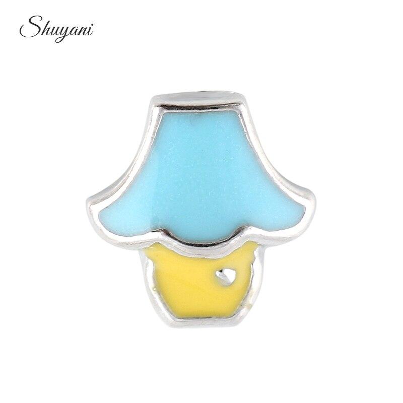 20pcs/lot Wholesale Alloy Metal Cute Light Enamel Floating Locket Charms For Women Glass Lockets