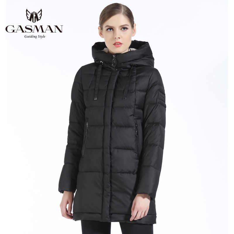 GASMAN 2019 chaqueta de invierno de mujer de marca de longitud media de mujer gruesa con capucha Parka para mujer abrigo de tela blanca para mujer de invierno