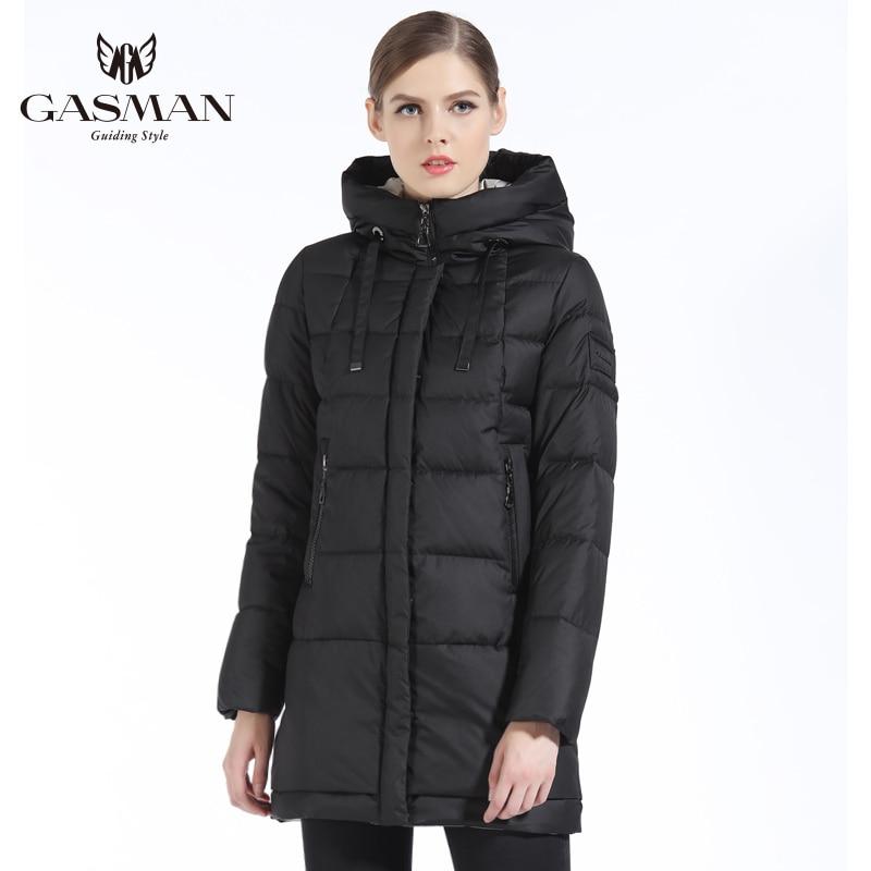 GASMAN 2019 الشتاء المرأة أسفل سترة العلامة التجارية المتوسطة طول الإناث سميكة مقنعين أسفل سترة للنساء معطف الأبيض قماش نسائي الشتاء-في سترات فرائية مقلنسة من ملابس نسائية على  مجموعة 3