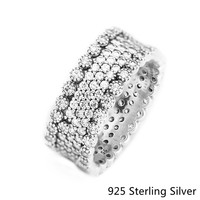 Authentic S925 Sterling Silver Shining Flower Texture Rings Charms Fits DIY Original Jewelry For Women Valentine's day Gift