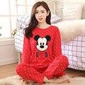 O Envio gratuito de Mulheres Pijamas Roupas De Algodão Longa Tops Definir Fêmea Conjuntos de Pijama Noite Terno Sleepwear Mulheres Roupa Em Casa Senhoras Definir
