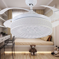 Белоснежка скрытые лопасти светодиодный потолочный вентилятор свет Y4213 потолочный вентилятор со светом