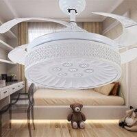 Snow White Hidden Blades Led Ceiling Fan Light Y4213 Ceiling Fan With Light