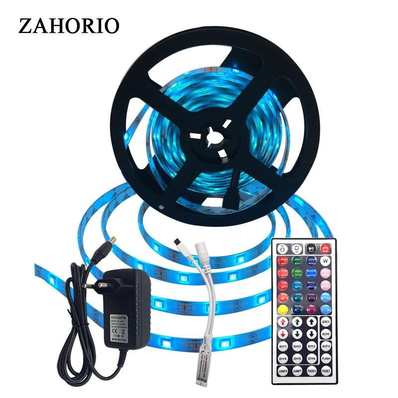 RGB DC 12V LED Strip Light waterproof 10M 5M 5050 SMD Neon Tape flexible ledstrip ribbon emitting diode 44key Controller+Adapter