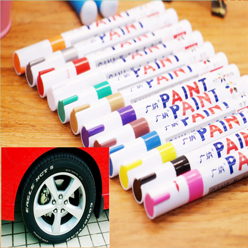 Colorful Waterproof Pen Car Tyre Tire Tread CD Metal Permanent Paint Markers Graffiti Oily Marker Pen Marcador Caneta Stationery ...