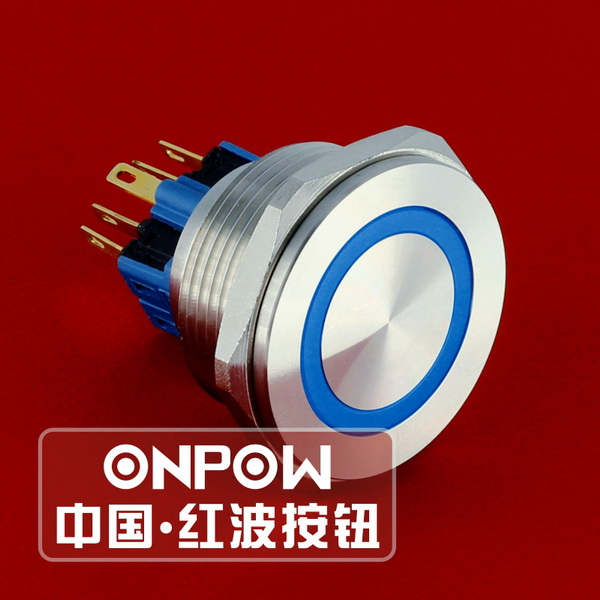 ONPOW 30mm Momentary 1NO1NC 12V, 220V LED ring illuminated Stainless steel Push Button Switch (GQ30PF-11E/B/12V/S) CE, ROHS настольная лампа globo декоративная rainbow 51530 1t