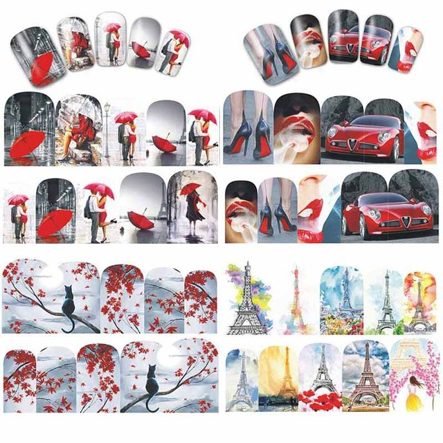 Us 05 22 Offmtssii 12 Designs Valentine Gift Sticker Couple Nail Designs Nail Art Water Transfer Decals For Nails Tips Sticker In Stickers