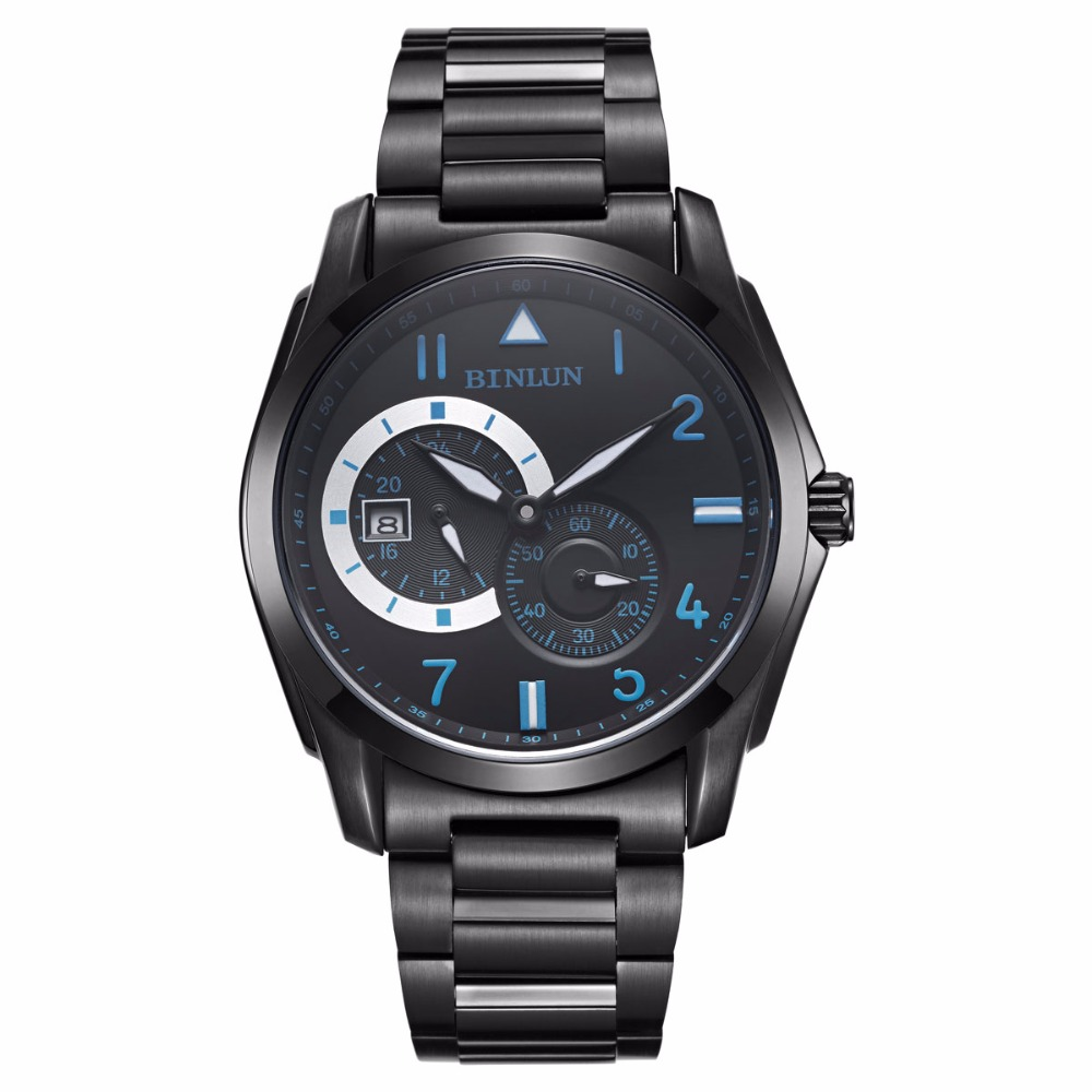 BINLUN Black Mens Automatic Sport Watches Waterproof Military Stainless Steel Wrist Watch with Calendar Luminous