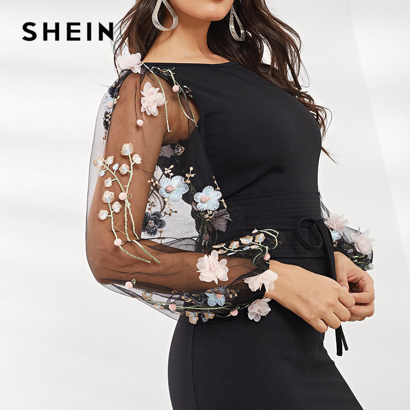 Image 3 - SHEIN Black Applique Embroidered Mesh Sleeve Pencil Dress Women 