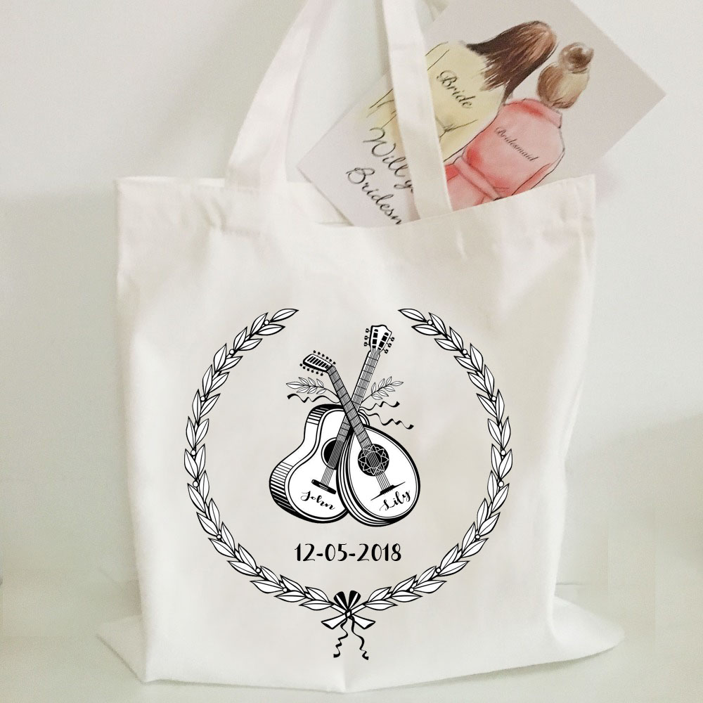 50th Birthday Signature Numbers Source 30pcs Lot Custom White Beige Canvas Handbag 60th Anniversary