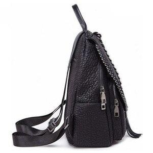 Image 5 - QINRANGUIO Genuine Leather Backpack Tassel Women Backpack 2020 New Design Chains School Backpacks for Teenage Girls Mochila