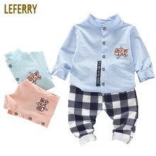 hot deal buy 2018 new baby boys clothes set 2pcs baby boys clothing cotton shirts + plaid pants baby kleding infant clothing gentleman suits
