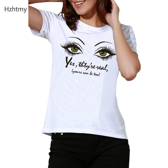 9eb7b53ff59 2018 Summer Women T-shirt O-neck Casual Short Sleeve Tee Tops Big Eyes Print  Letter Female Tshirt White Woman Clothes Plus Size