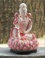 Beautiful China colorful ceramic statue Lotus Guanyin Buddha statue