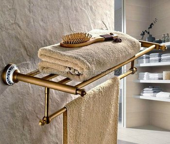 Antique Brass Ceramic base Wall Mounted Bathroom Rack Double Towel Holder Storage Rail Shelf Bathroom Accessories Kba411
