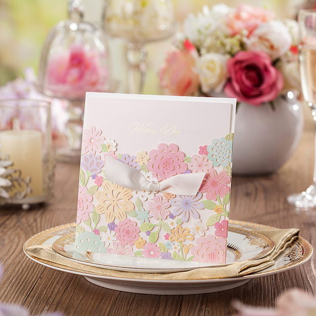 Floral Design Invitation Cards 25pcs/lot