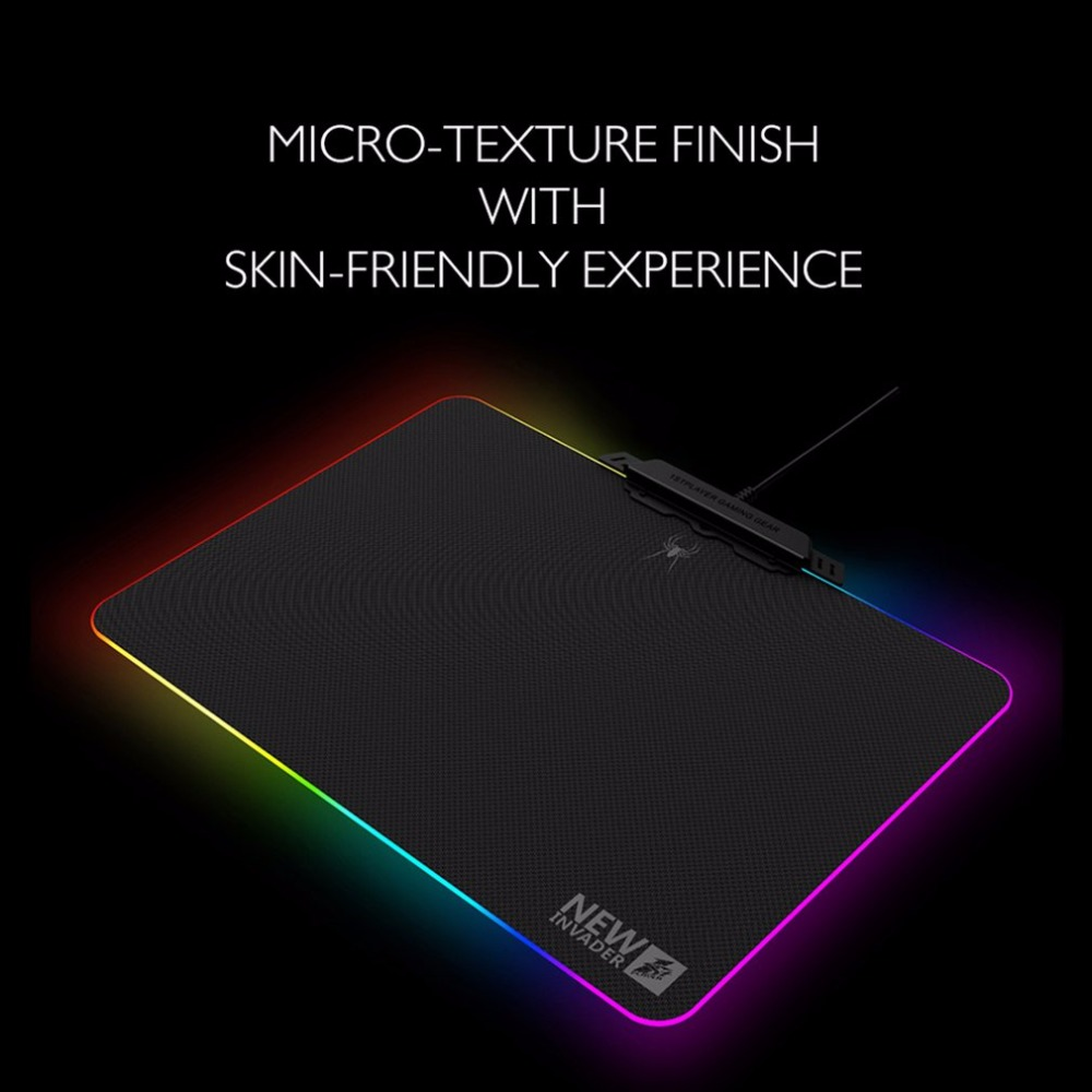 Tapis de souris anti-dérapant pour ordinateur portable tapis de souris coloré RGB LED tapis de souris d'éclairage pour souris Laser optique tapis de souris de jeu confortable - 5