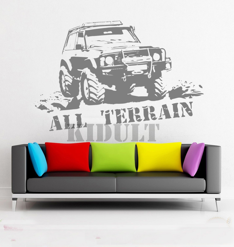 creative suv wrangler car garage wall stickers vinyl stickers wall stickers home art deco. Black Bedroom Furniture Sets. Home Design Ideas