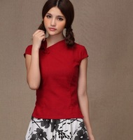 Free Shipping New Arrival Woman Chinese Traditional Top Chinese Style Cheongsam Top Traditional Chinese Linen Blouse