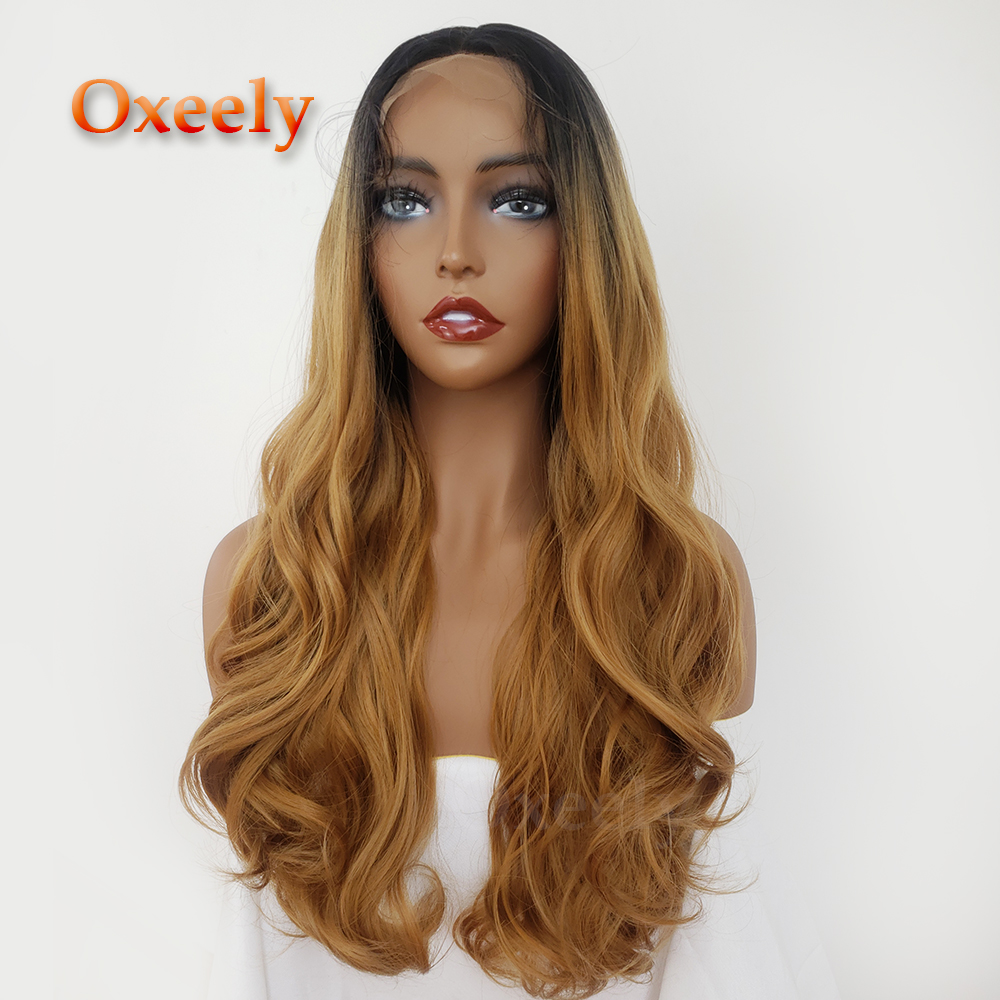 Oxeely Blonde Hair Long Wavy Synthetic Parykar Ombre Body Wave - Syntetiskt hår