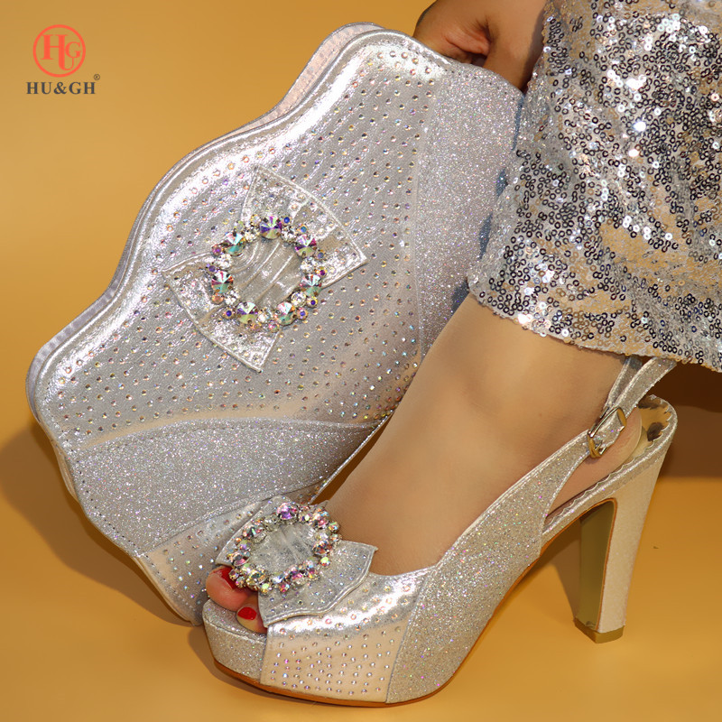 Silver African Matching Shoes and Bags Italian In Women Italian Shoes and Bags for Women Nigerian