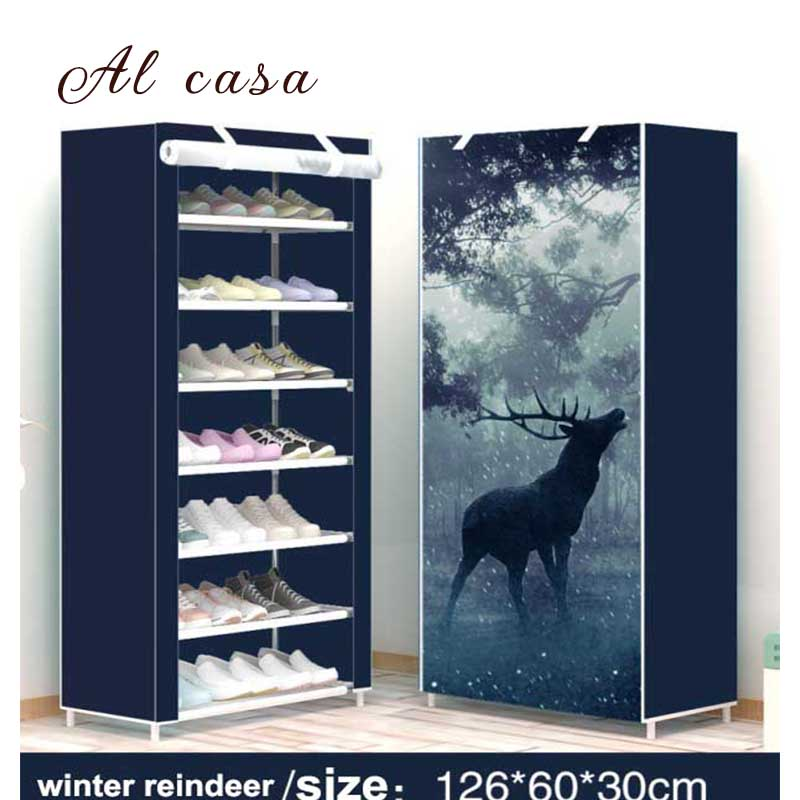 Cabinet:  Shoe Cabinet Shoes Rack dust&Moisture proof Storage Large Capacity Home Furniture DIY Simple 7 Layers - Martin's & Co
