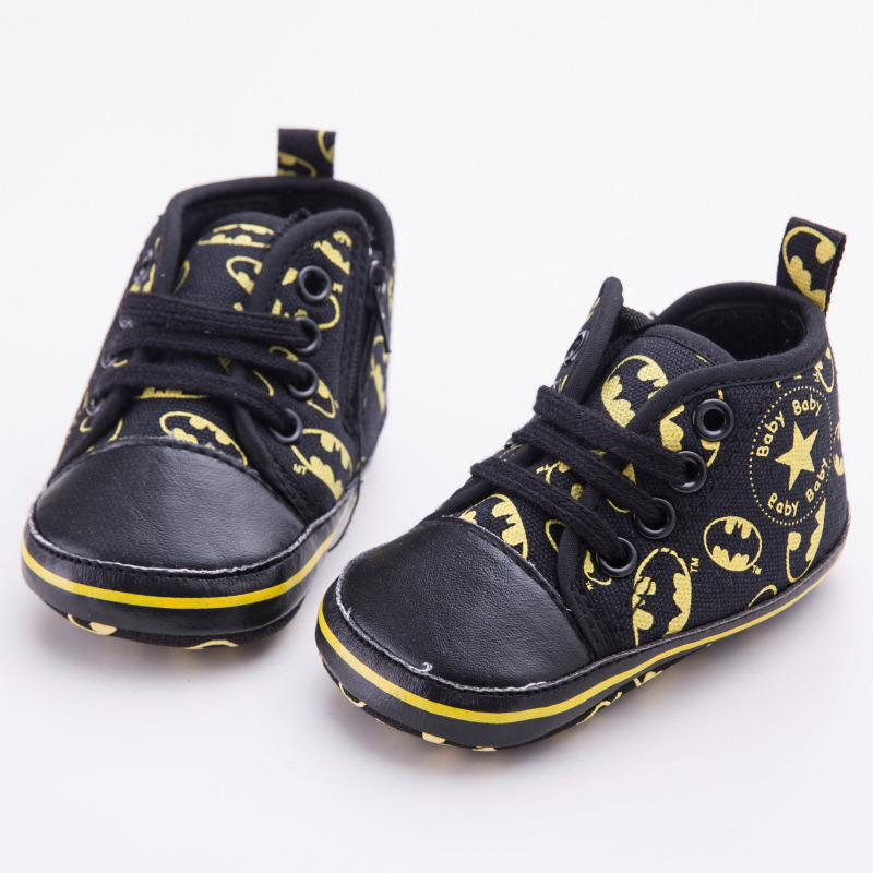 Newborn Baby Shoes Infant Toddler Cute Cartoon Batman Fashion Lace-Up Girl Boy Kids First Walkers Kids Soft Soled Sneakers DS9