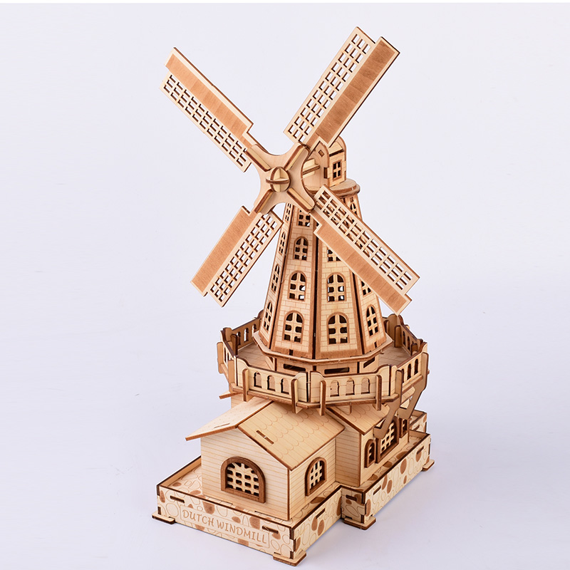 Laser Cutting Puzzle 3D Wooden Jigsaw Model Building Dutch Windmill Home Decor Ornaments Europe Models Gifts For Children