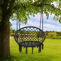 Blue Nordic Style Round Hammock Outdoor Indoor Dormitory Bedroom Hanging Chair For Child Adult Swinging Single Safety Hammock